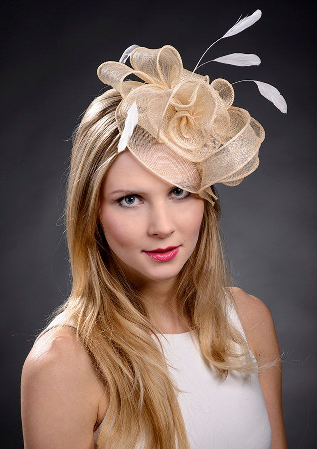 Beige champage gold fascinator hat for weddings by MargeIilane