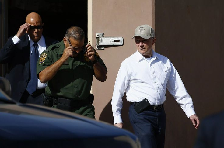United States Attorney General Jeff Sessions, right, tours the U.S.-Mexico border with border officials Tuesday, April 11, 2017, in Nogales, Ariz. Sessions has made immigration enforcement a key Justice Department priority, saying he will speed up deportations of immigrants in the country illegally who were convicted of federal crimes. (AP Photo/Ross D. Franklin)