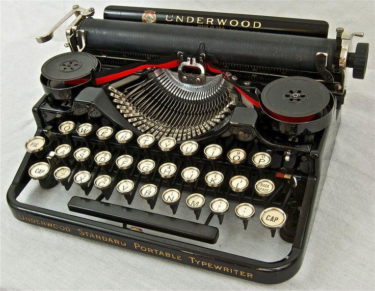 Vintage Underwood typewriter..ack, changing that ribbon was a messy job!