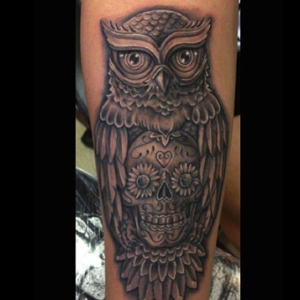 owl tattoos   Owl skull unique artistic black leg tattoo uncategorized