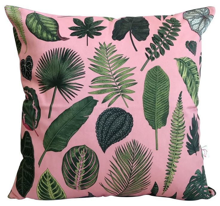 Foliage on Pink Cushion Cover by handmade by me