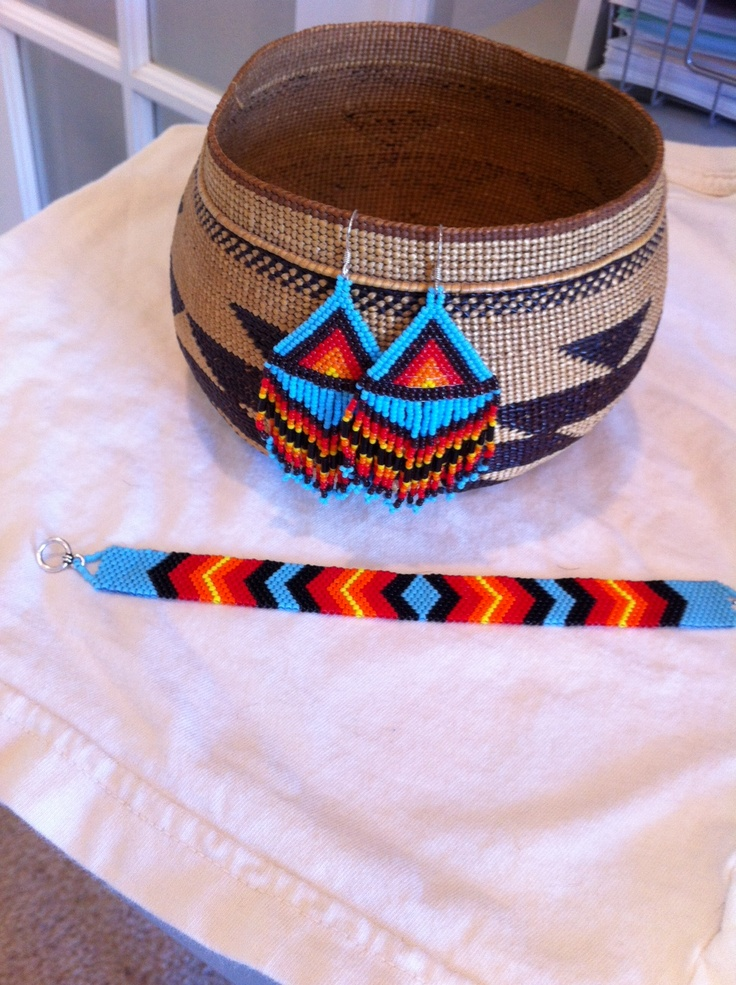 Have Native american beaded rosettes strips headbands