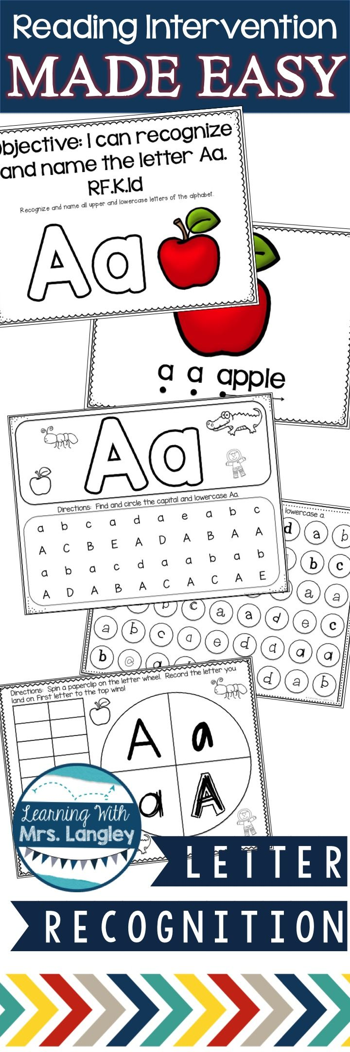 """READING INTERVENTION LETTER RECOGNITION Finally, reading intervention MADE EASY! Letter recognition is the first thing we focus on in our Kindergarten classroom and this product has it all! This unit is focused on letter recognition. Any of my students that have not mastered their letter names are in my """"low"""" group and I meet with them daily with these materials. They are hands on, engaging, consistent, and fun!"""