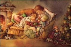 Mother and Children at Christmas. Illustrated by Lisi Martin, Spanish Artist.