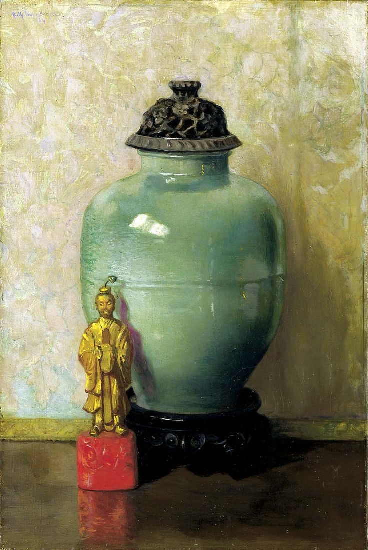Ruth Payne Burgess (American: 1865 - 1934) - Green Chinese Jar, 1924 - Oil on canvas