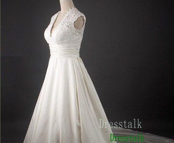 Empire Waist Lace Taffeta Wedding Dress Plus Size by dresstalk