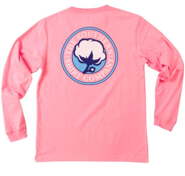 Southern Shirt Company Signature Logo Long Sleeve Tee- Rose Pink from Shop Southern Roots TX