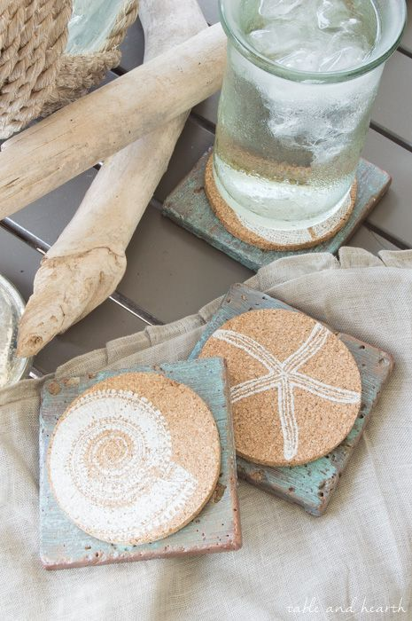 Easy Copper Patina Tile Coasters - Make those simple cork coasters more sturdy and versatile with some basic tile coasters.