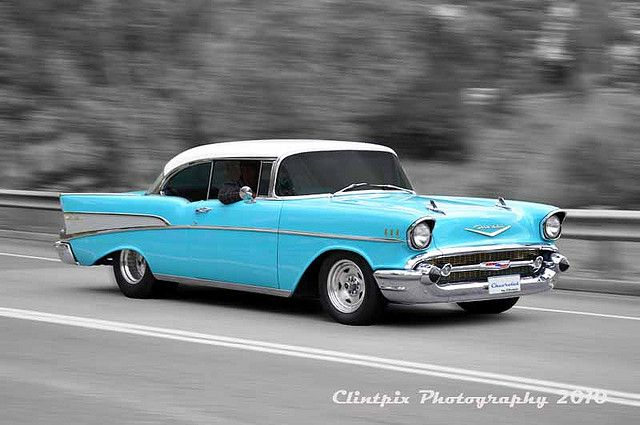 My love - one day I will build you, and paint you this color. Two-tone blue-and-white bench seats, old radio...beautiful. 1957 Chevy