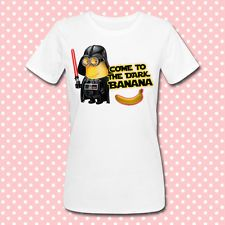 T-shirt donna Minions Star Wars inspired Come to the dark Banana, divertente!