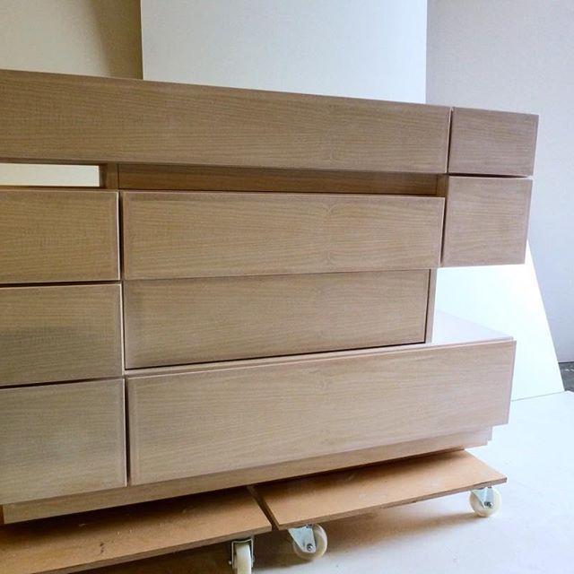 Cubist cabinet made from ash finished in white oil #bimburtondesign #bimburton #bimburton #modernfurniture #cabinetmakers #interior #interiordesign #londondesign