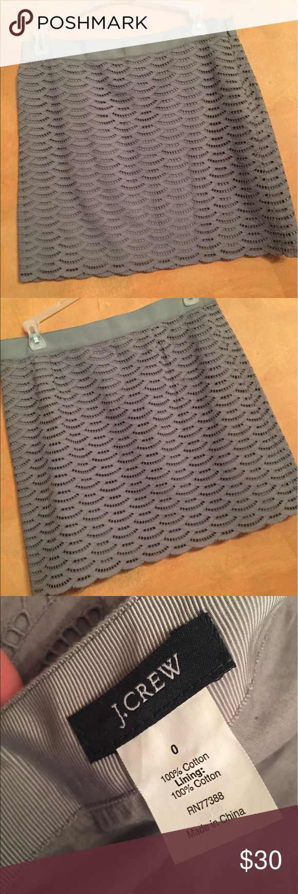 J. Crew gray eyelet short pencil skirt NWOT New, never worn. Size 0. Length 16 inches. Waist across front 14 inches. Lined. J. Crew Skirts Mini