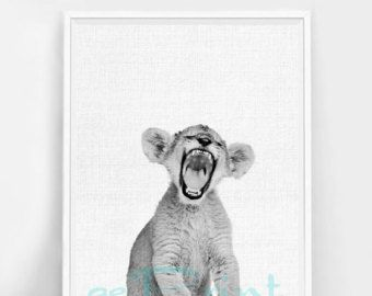 Lion Cub Print Baby Wall Art Decor van de kwekerij door LILAxLOLA