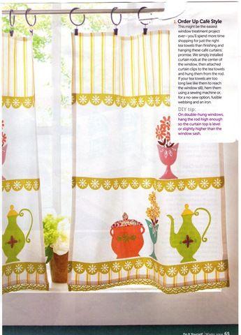 vintage tea towel curtains