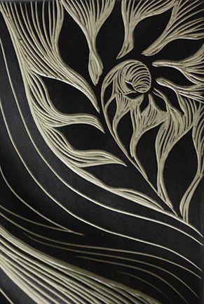 Natalie Blake Studios individually sgraffito-carved, porcelain tile detail. Made in Vermont