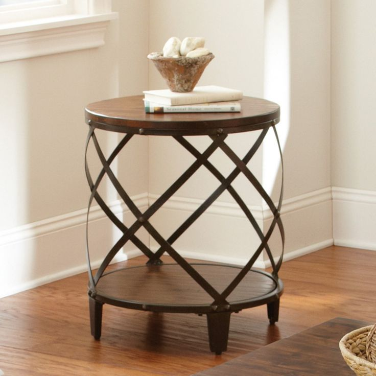 Steve Silver Winston Round Distressed Tobacco Wood and Metal End Table - WN450E