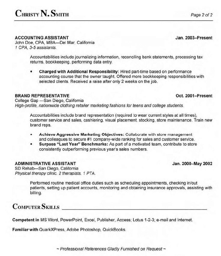 Resume For Certified Medical Assistant -    wwwresumecareer - accounting assistant job description