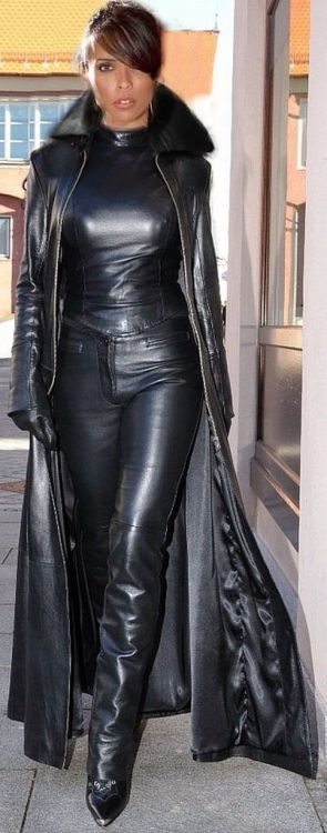 Supple black leather pants top and trench coat