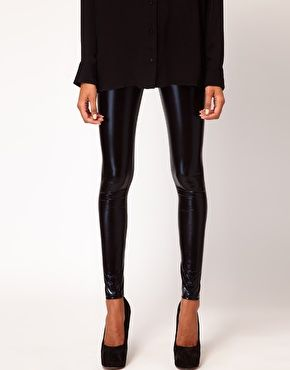 go to gigs in these with baseball boots and black hoodie - Enlarge ASOS PETITE Ultra Wetlook Legging
