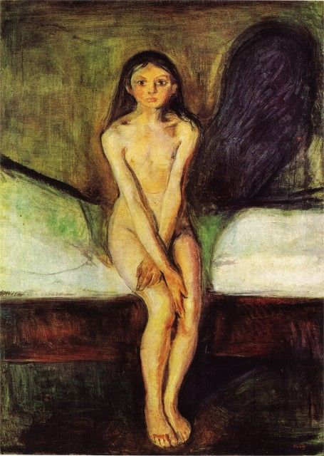 Edvard Munch - Puberty.  Love the dark shadow behind her.