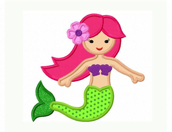 Instant Download Cute Mermaid Applique Machine by JoyousEmbroidery