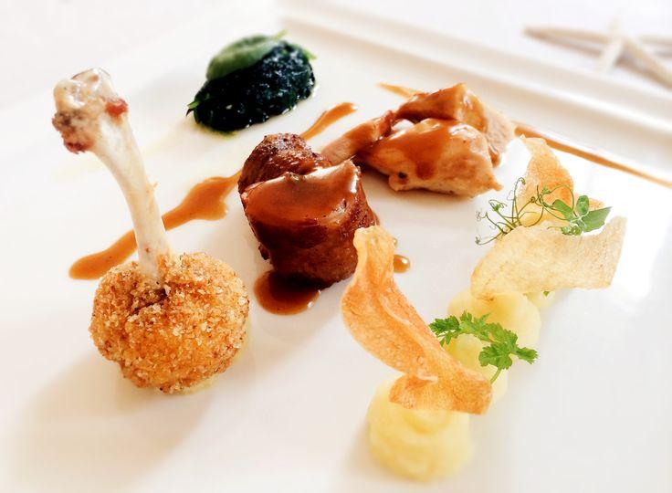 Poulet de Bresse alla soia e zenzero, con spinacini al burro e patate all'olio