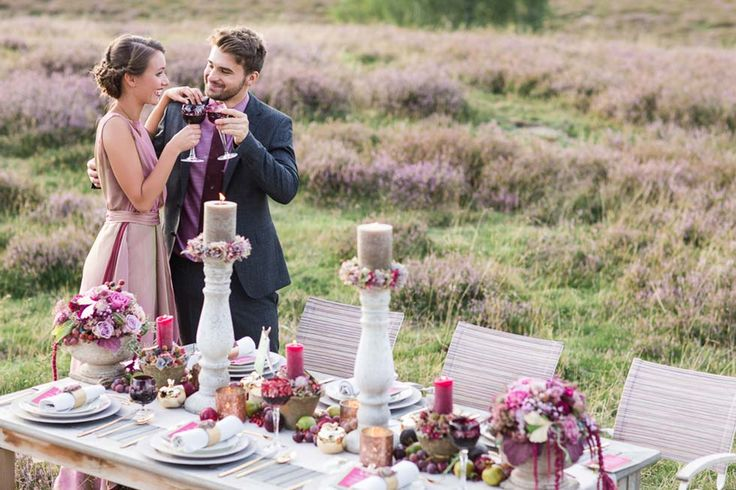 #Heather themed wedding inspiration in #amethyst and #marsala