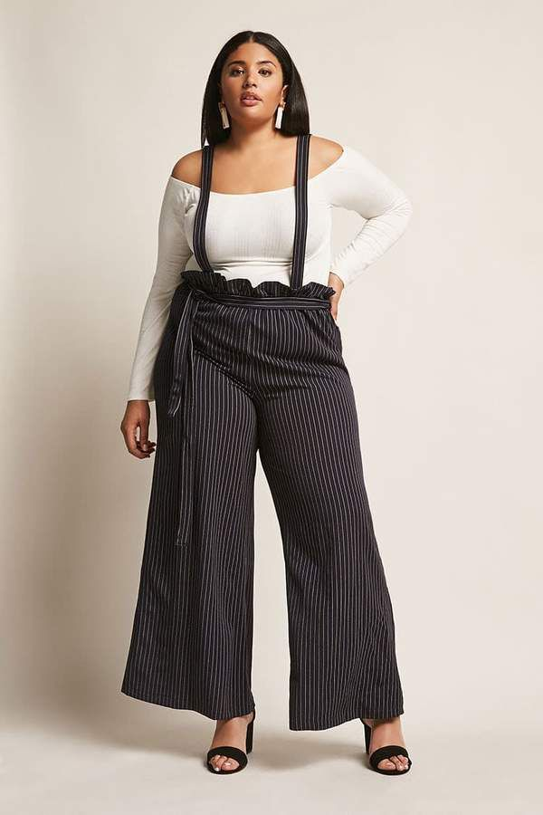 b3034abbad9c Forever 21 Plus Size Pinstripe Suspender Jumpsuit  plussize  spring ...