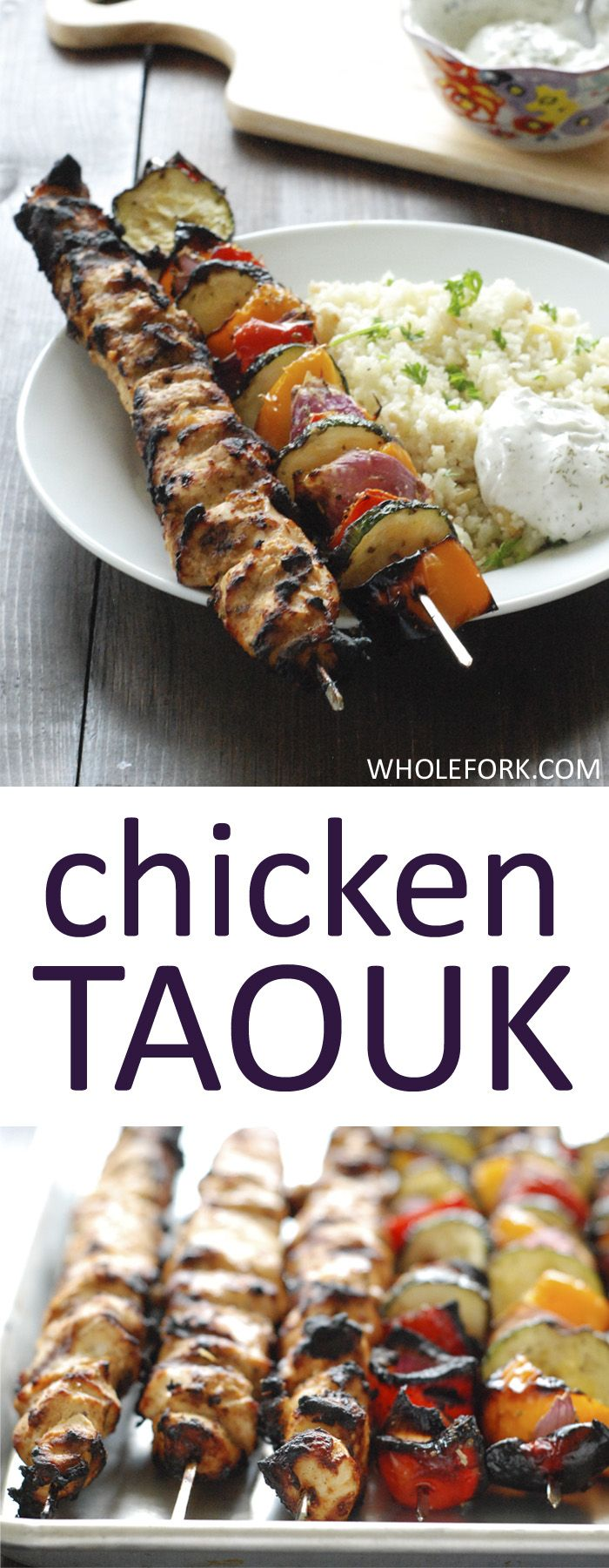 Turkish Chicken Taouk -  Turkish Shish Kebab marinated in Greek yogurt sauce, then grilled to add a hint of smoke and served with grilled veggies. The perfect summer meal on the grill!