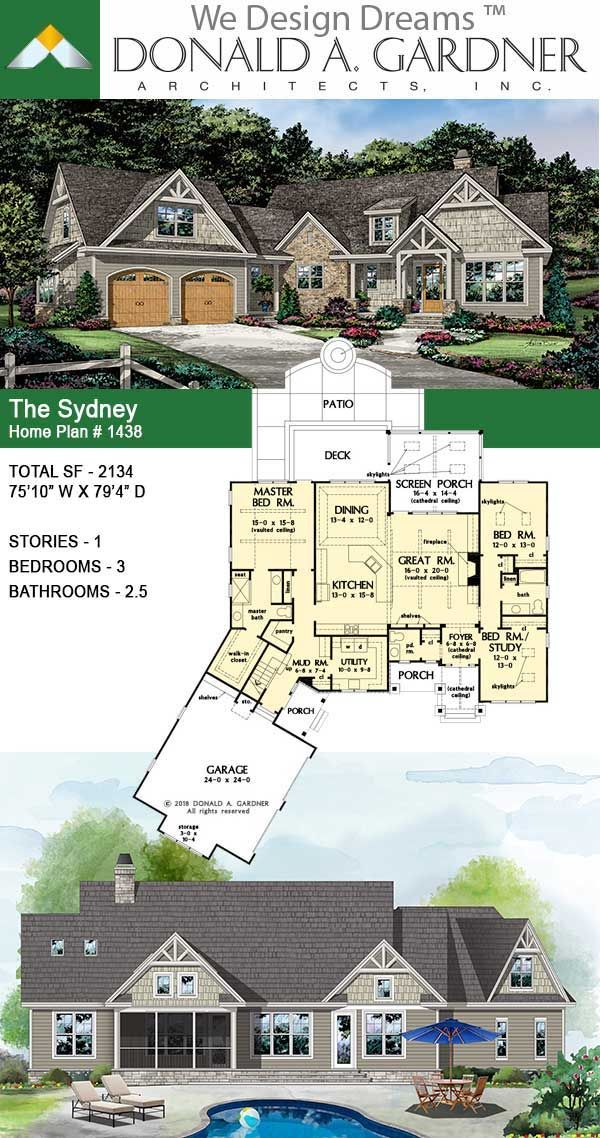 The Sydney House Plan 1438 Rustic One Story Craftsman House Plans Sydney House Rustic House Plans