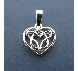 Amethyst Heart Pendant with Spirals, Silver Plated
