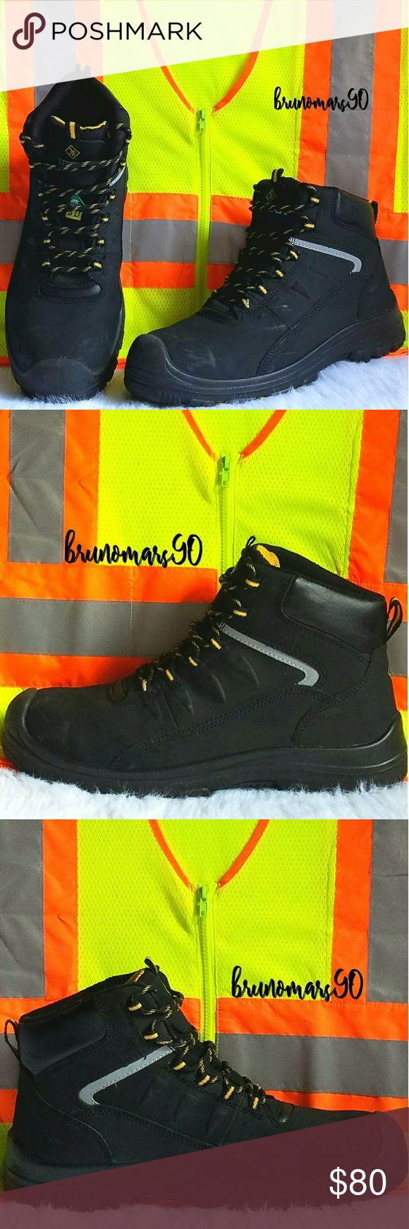 """Men's Findlay 6-Inch Waterproof Work Boots For the hardworking individual; work boots designed to fit your lifestyle. Worn three times max, still in clean/very good condition, with original box included. Minor scuffs on both tip of shoes, (see pic #6 & #7). Bottom soles are hardly marked. Special Features: removable insoles, rubber sole, safety toe, slip-resistant (non-skid). Shaft Height: 6"""". Circumference: 12"""". Size 13. Terra Shoes Boots"""