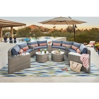 Shop For Ari Outdoor 11 Pc Modular Sectional Set. Get Free Delivery At  Overstock.