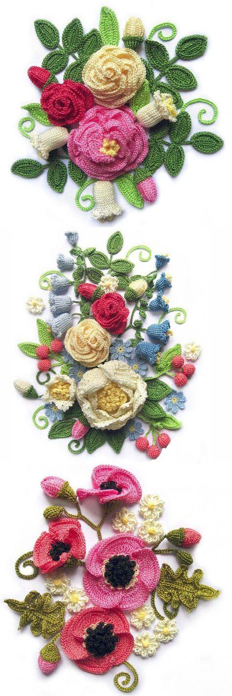 Quadros de flores em crochet.