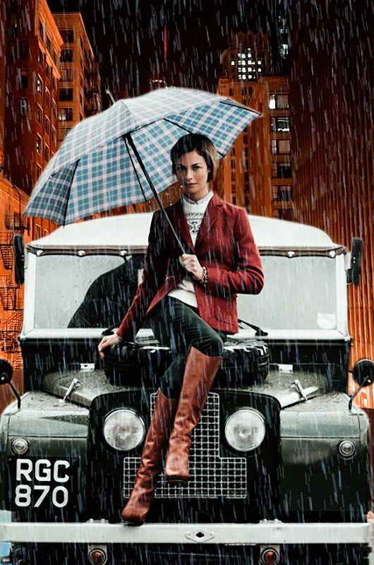 Девушка, авто, зонт, дождь