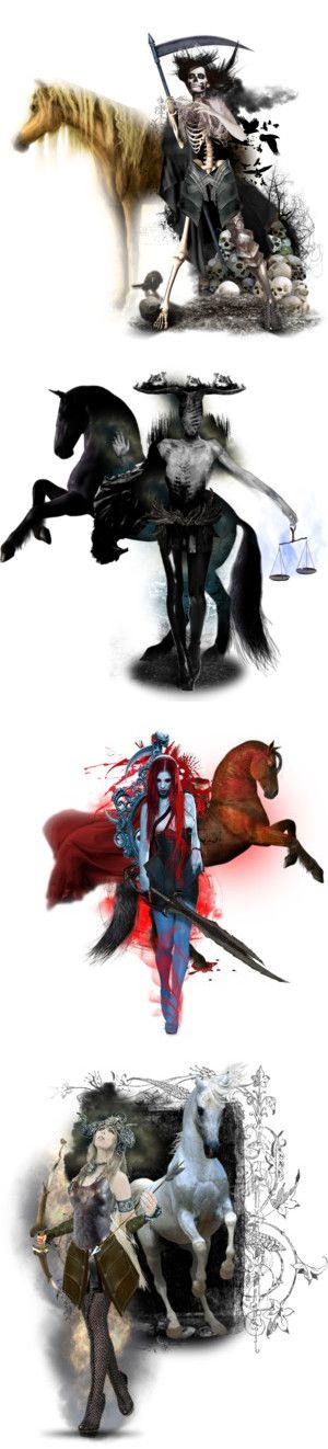 Four Horsemen of the Apocalypse by matildaaah on Polyvore featuring art