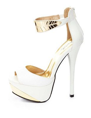 """Qupid Gold Leaf Ankle Cuff Heels: Charlotte Russe $45.50. So cute. They don't sell these in the store. Heel: 5.5"""" and Platform: 1.5"""""""