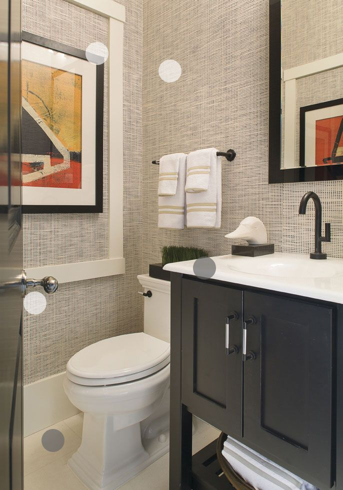 basement powder room like seagrass wall covering orange grey and black