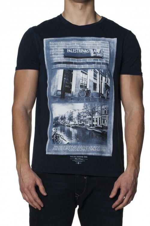 100% AlgodãoT-shirt de manga curta slim fit com tingimento frontal.