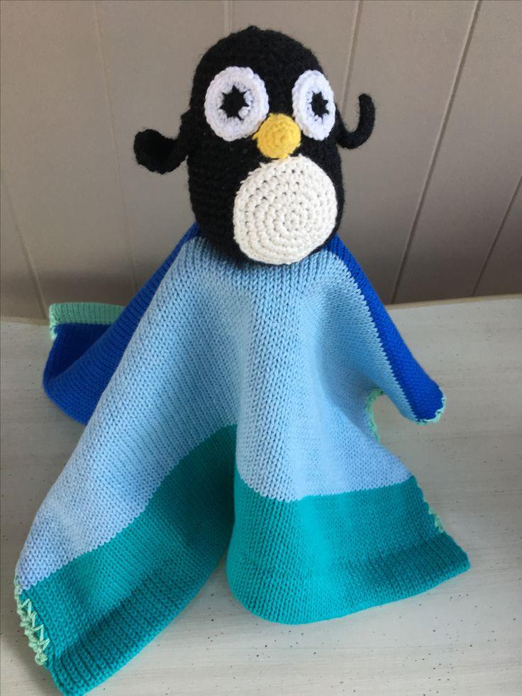 Penguin Lovey blanket.100% COTTON.machine washable hand crochet and knit www.thebabyblanketlady.com www.thebabyblanketladay.com