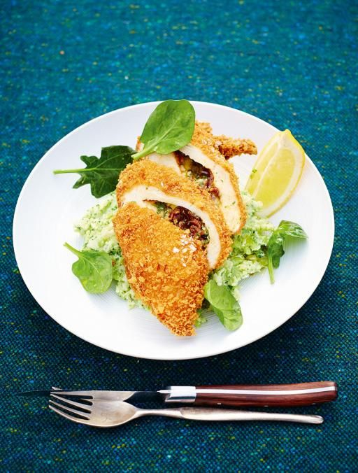 Chicken Kiev |  chicken stuffed with garlicky butter and crispy crumbled bacon, then coated with golden breadcrumbs – you know it's going to be good | http://www.jamieoliver.com/recipes/chicken-recipes/chicken-kiev