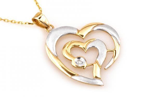 """Zlatý diamantový náhrdelník ,,Big heart"""" s veľkym matovaným srdcom zo 14 K viacfarebného zlata"""
