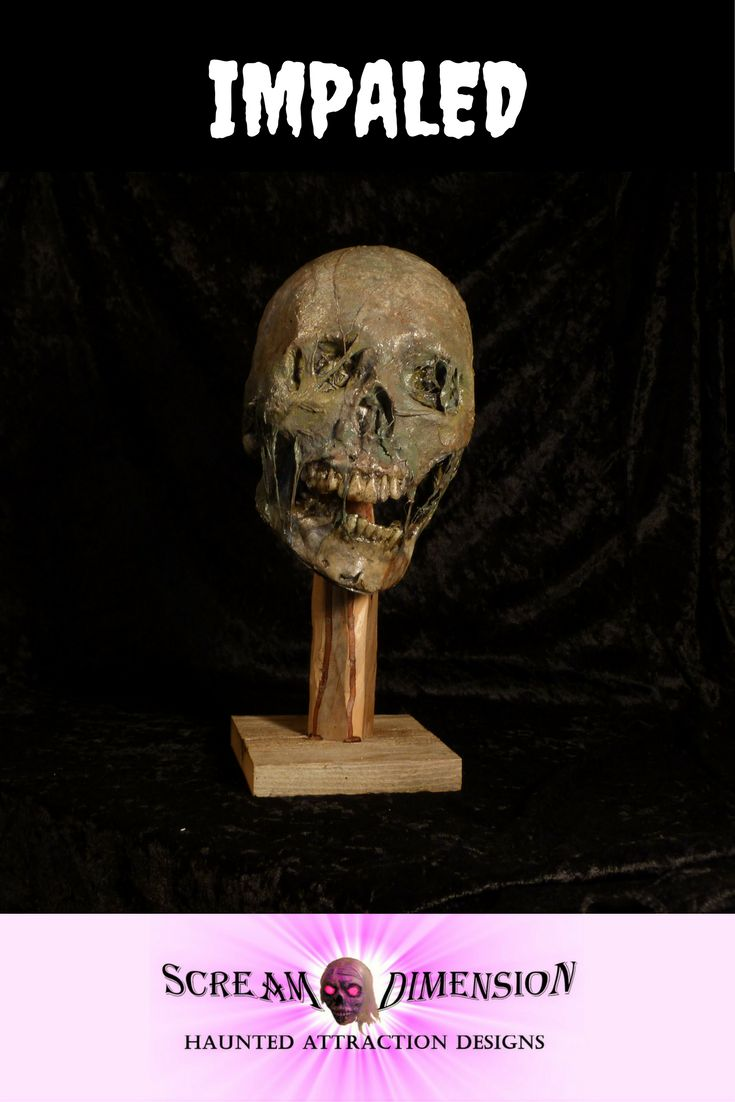 Decaying head impaled on a stake. New from Scream Dimension. https://www.etsy.com/ca/shop/ScreamDimension?ref=seller-platform-mcnav