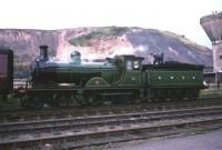 Ex-GNSR 4-4-0 no 49 <I>Gordon Highlander</I> stands alongside the Ramsay Colliery, Loanhead, with the BLS railtour of 16 October 1965. The 3-coach railtour, hauled by no 49 throughout, ran from Glasgow Central and included a trip along the Roslin branch, incorporating this stop. The train returned to Glasgow via Bathgate to terminate at St Enoch. [Ref Query 3138]