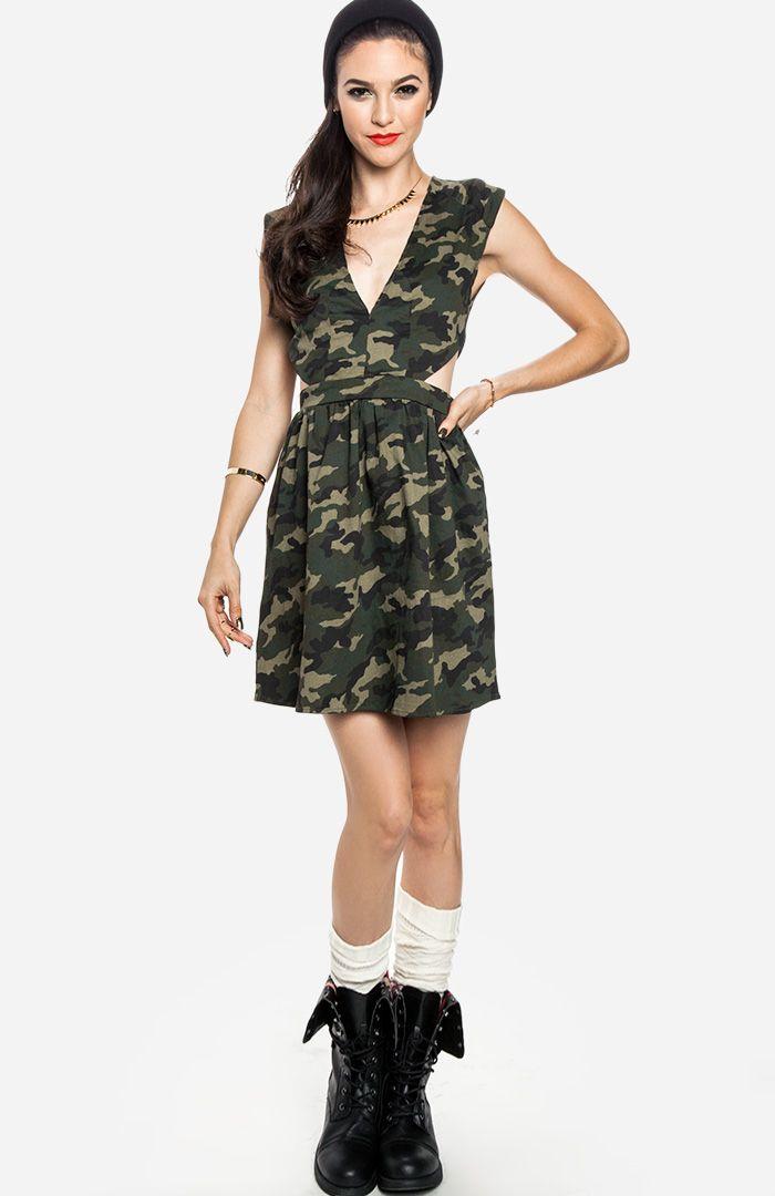 Camo Cutout Dress