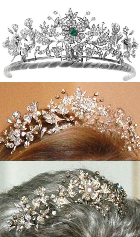 DENMARK | Floral tiara belonging to Princess Benedikte of Denmark (sister of Queen Margrethe), a present from her parents King Frederik IX and Queen Ingrid of Denmark on her 18th birthday. Diamonds set in gold and silver. The centre stone can be an emerald, pearl or diamond. Tiara created from a floral brooch that previously belonged to Benedikte's grandmother, Queen Alexandrine, and breaks into three separate pieces for use as brooches.