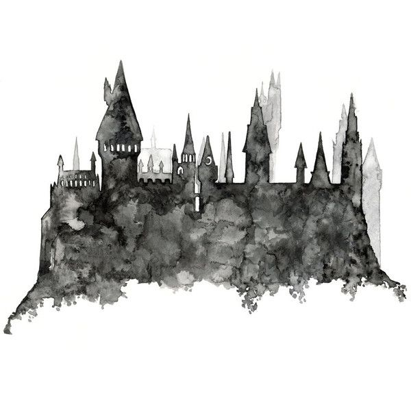 "Hogwarts Painting Print from Original Watercolor Painting, ""Hogwarts... ($24) ❤ liked on Polyvore featuring home, home decor, wall art, fillers, harry potter, backgrounds, art, drawings, effect and borders"