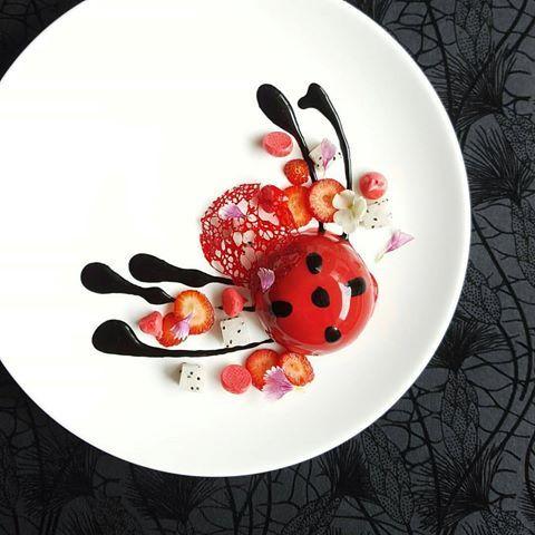 "By @lvin1stbite ""Red Ladybug - Black sesame mousse, strawberry jelly, black sesame dacquoise, dragon fruit and meringue."" #foodphotography #f52grams #food #foodporn #gourmet #instagramfood #chef #foodart #lovefood #artofplating #instafood #yummy #foodpic #photooftheday #instagourmet #dinner #foodvsco #dessert #delicious #taste #foodartchefs #eat #gastronomy #love #foodie #cook #cooking #foodgasm #culinaryart"