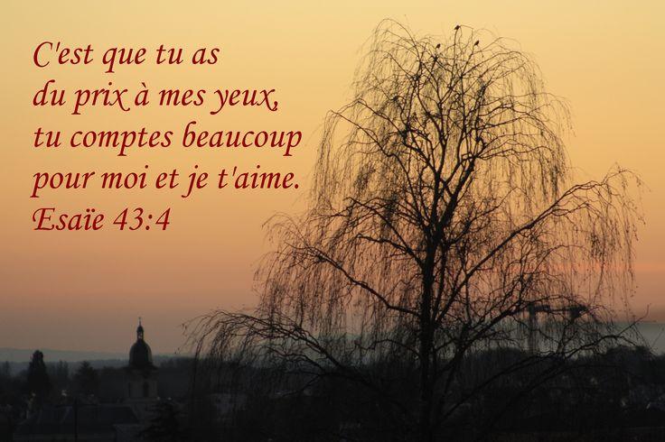 Dieu nous aime. Esaïe 43:4 Parce que tu as du prix à mes yeux, Parce que tu es honoré et que je t'aime,