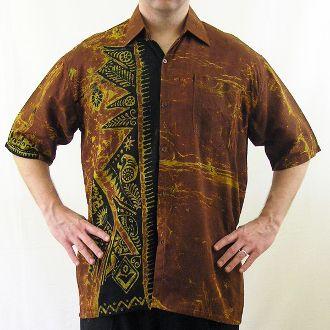 Batik Shirt - Black on Brown (XL)